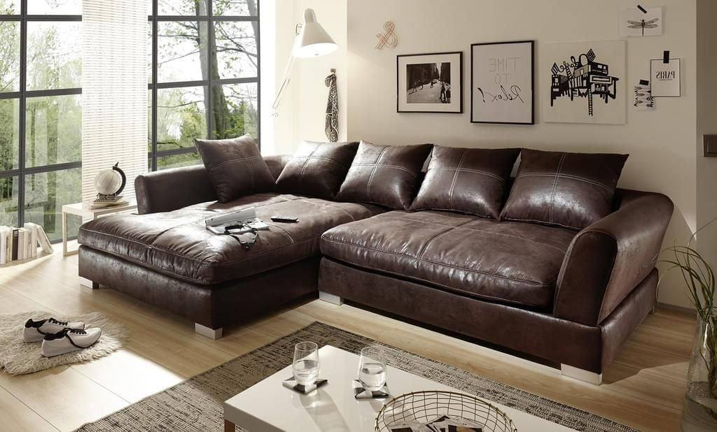 Big Sofa L Form Vintage Dunkelbraun Links Modell Maximus In 2020 Grosse Sofas Shabby Chic Mobel Und Kunstleder Sofa