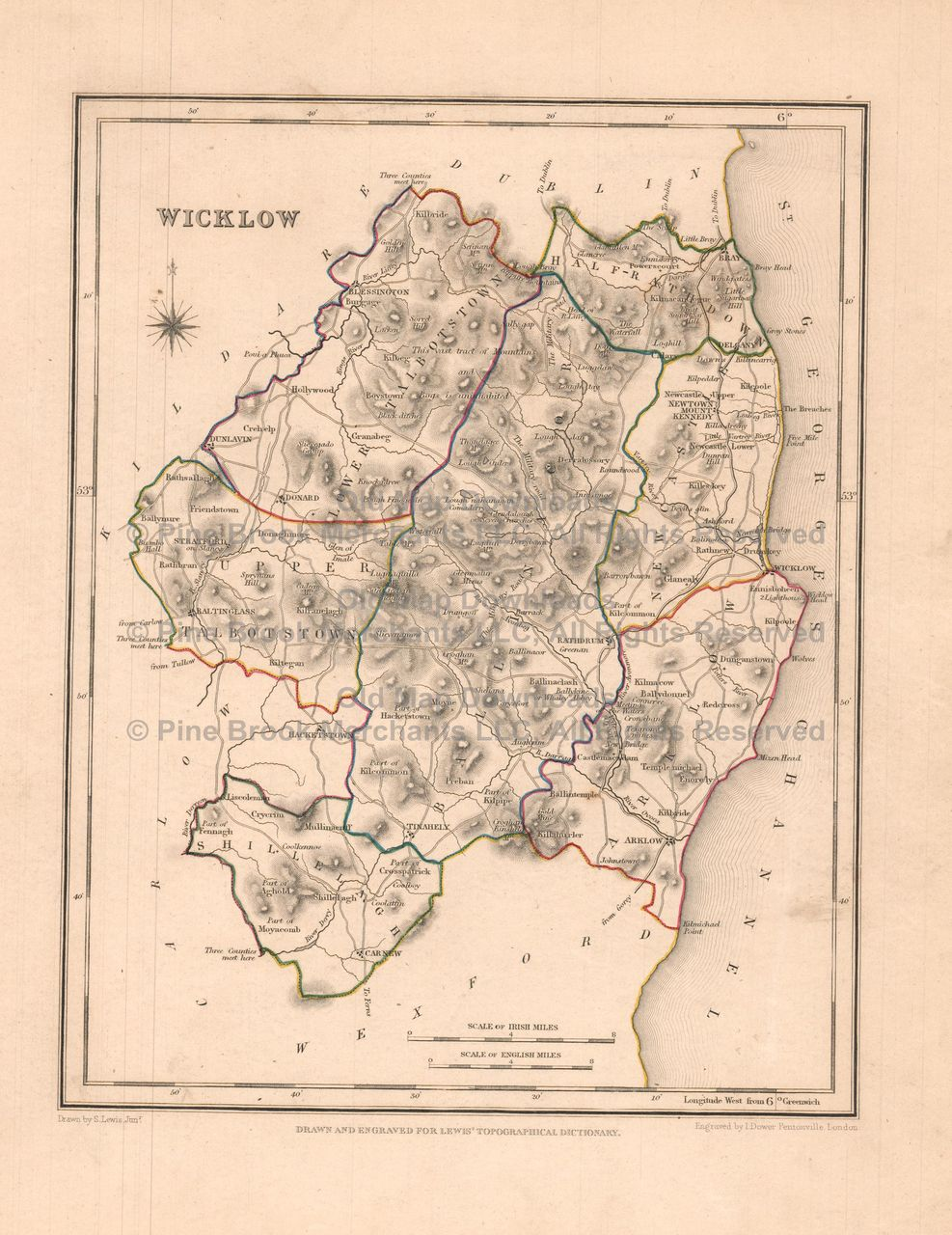 Carlow County Ireland Old Map Lewis Digital Image Scan - Ireland map download
