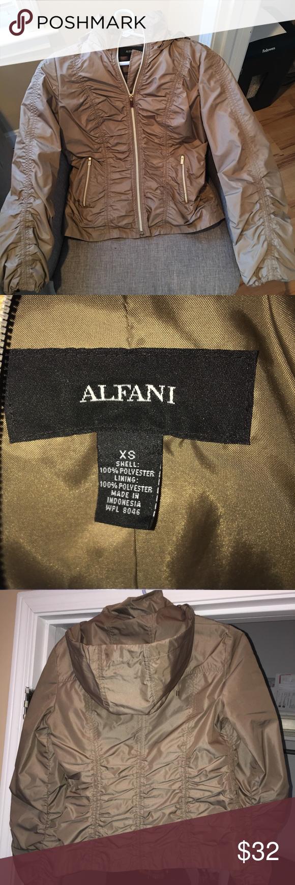 Women's Alfani Lightweight Jacket Womens Size xtra small.   Beautiful Light mocha color with gold hardware.  Removable hood. Like new condition.  Retail $149 Bought at Macy's. Alfani Jackets & Coats