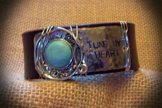 Leather Cuff Embellished with Stamped Metal by BellaDoniBoutique, $35.00