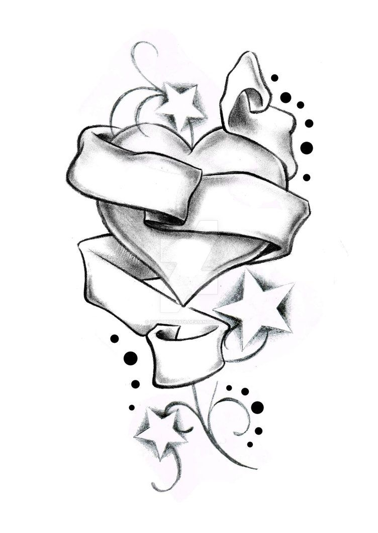 Heart Stars And Banner By Boise Of Lowrider Ink Art Drawings Simple Heart Drawing Roses Drawing