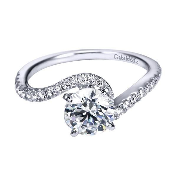 14k White Gold Bypass Swirl Engagement Ring | Gabriel & Co NY