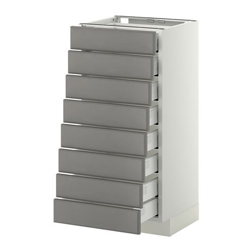 METOD Base cabinet 8 fronts/8 low drawers White/bodbyn grey IKEA