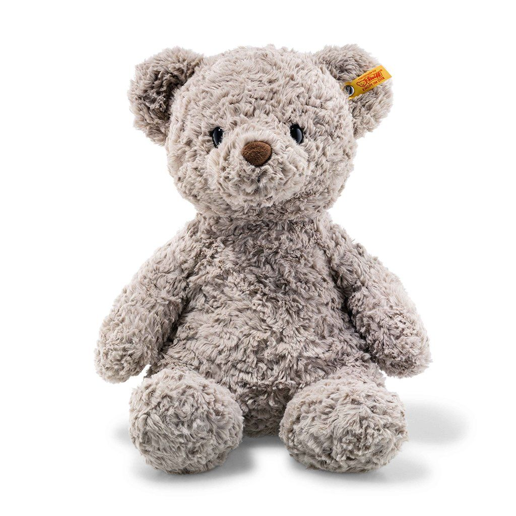 This large 15-inch friend has a honey-sweet smile that will steal the heart of any child. The bean bags included at his rear, paws and soles allow him to be firmly seated on a surface. And they are also perfect for teaching your child to grip. Material: made of cuddly soft plush stuffed with synthetic filling material Size: 15