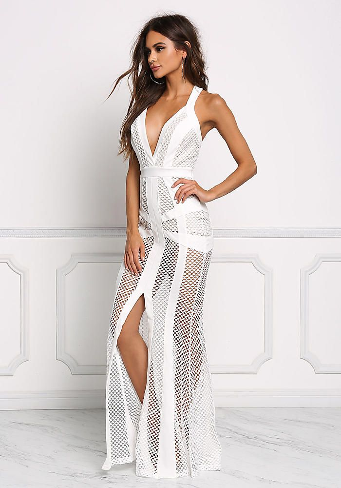 472c2be4367 Off White Mesh Net Slit Maxi Gown - Boutique Culture