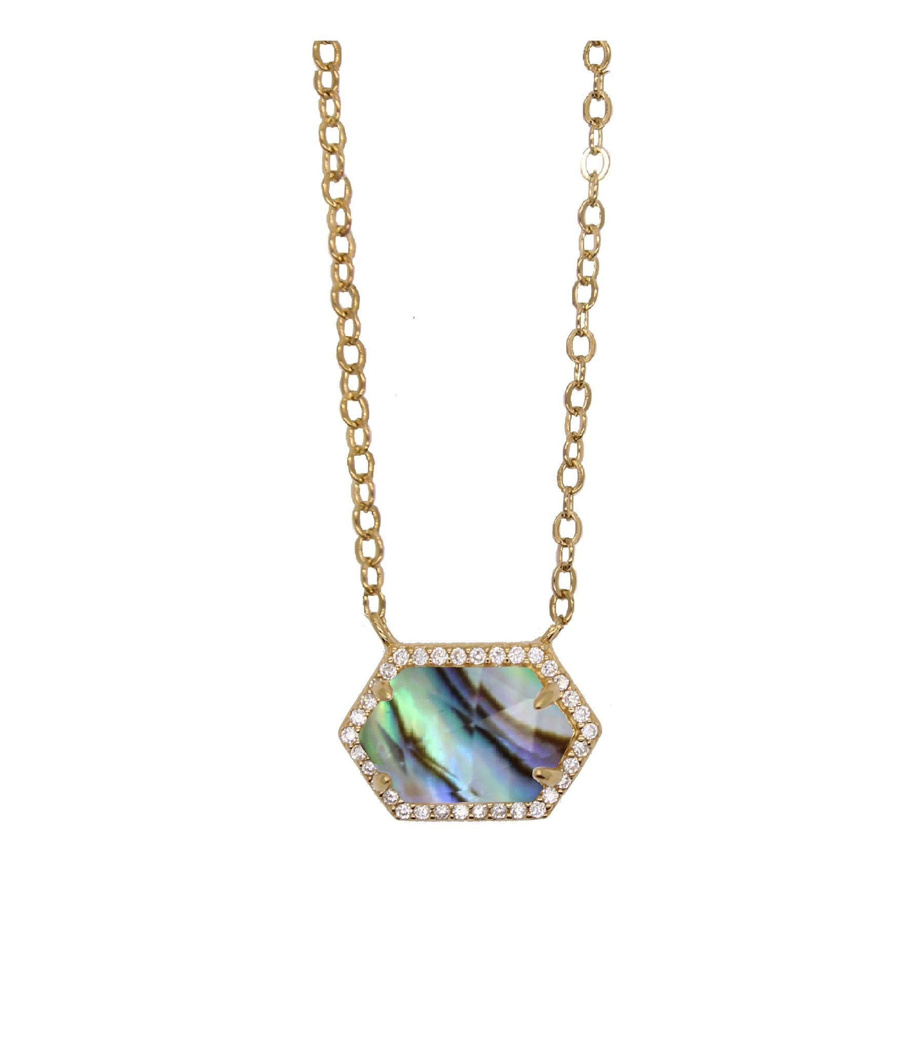 Hexagon Pave Necklace - Abalone