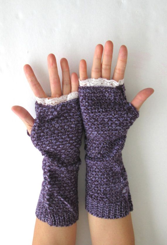 Knitted Arm Warmers Purple Gloves Arm Warmers by knitwit321