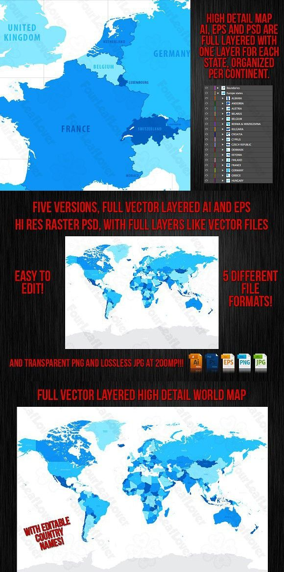 Vector high detail world map gumiabroncs Gallery