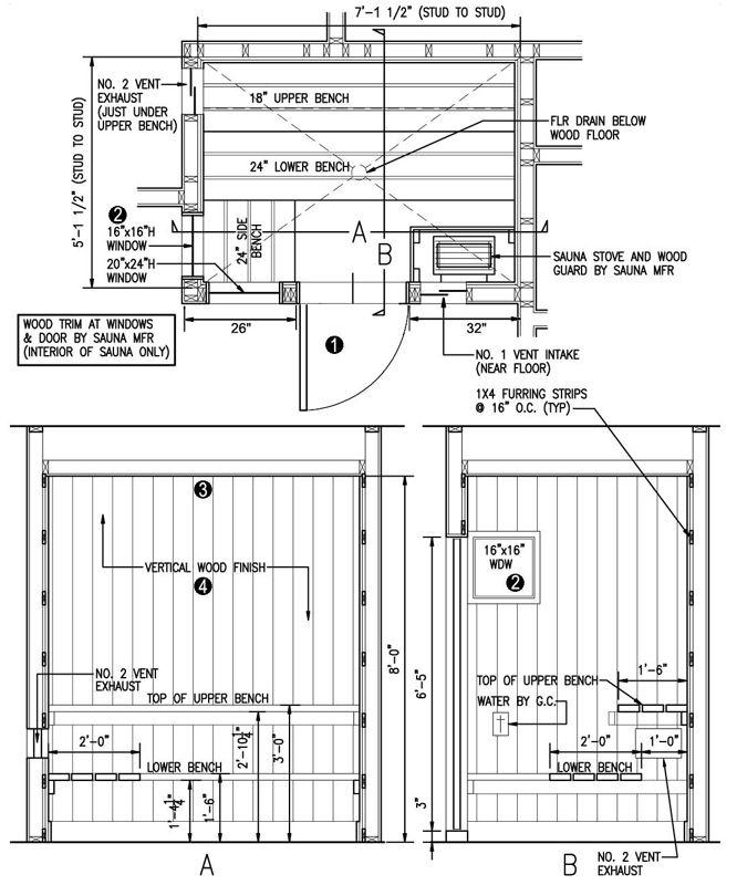 awesome sauna plans #6: Sauna Planning - Free Sauna Plans and Layouts