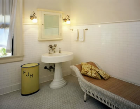 Victorian, bath, marble hexagon tile, subway tile, renovation, vintage inspiration.  http://victoriaelizabethbarnes.com/vintage-bath-cove-molding-pedestal-sink-subway-tile/