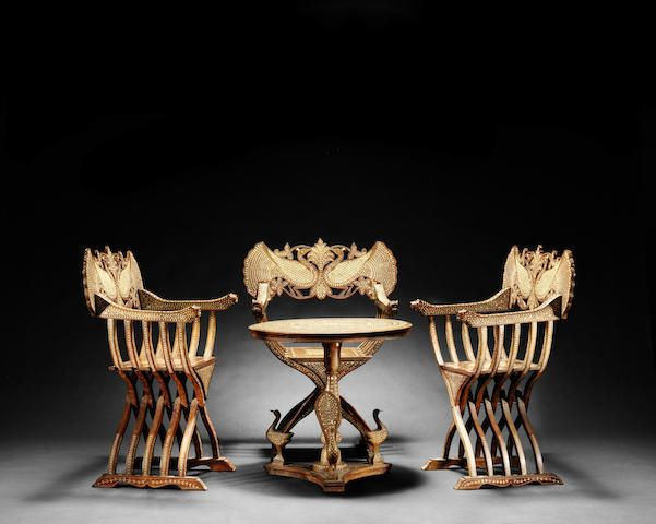 A Hoshiarpur Ivory Inlaid Wood Table And Three Chairs Northern India, Late  19th C.