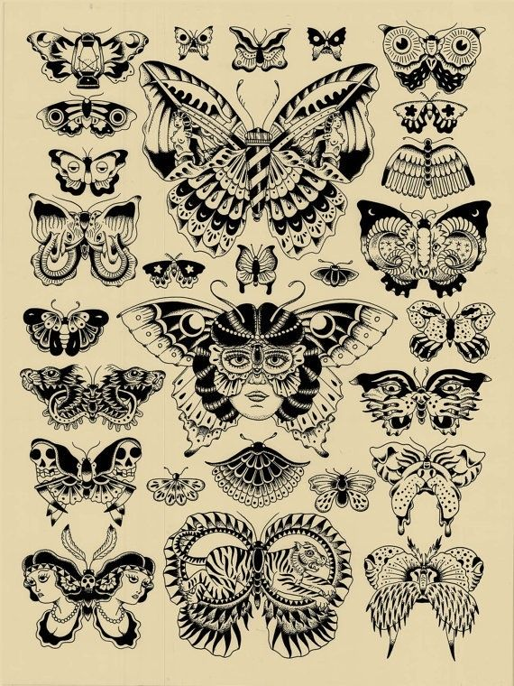 999b44422097d Black and White Tattoo Flash OLD SCHOOL | Butterfly tatuaggi old school