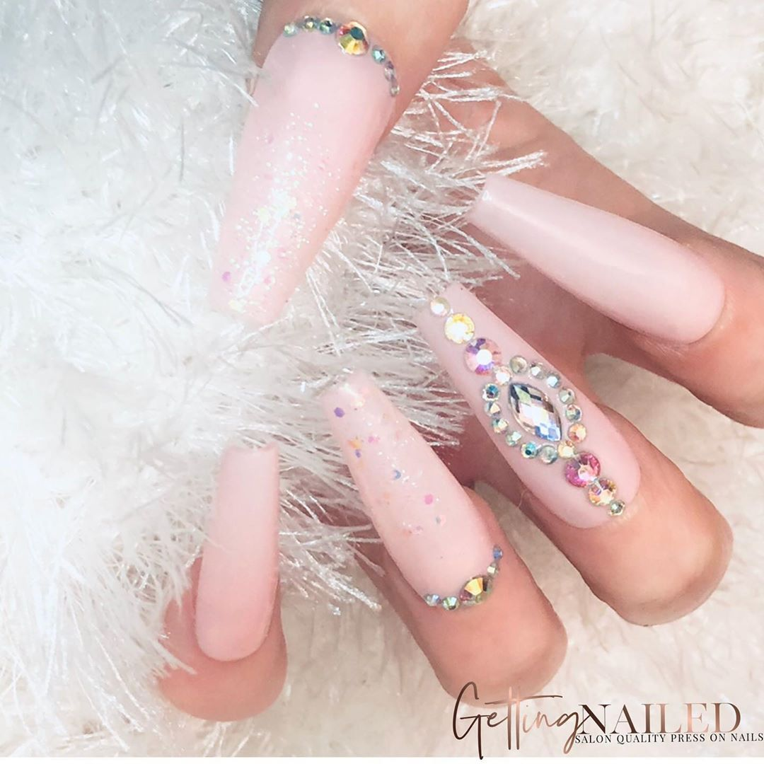 Getting Nailed Uk On Instagram I Confess I M All Over Pink The More Pink And The More Glitter The Better And The In 2020 Press On Nails False Nails Diamond Nails