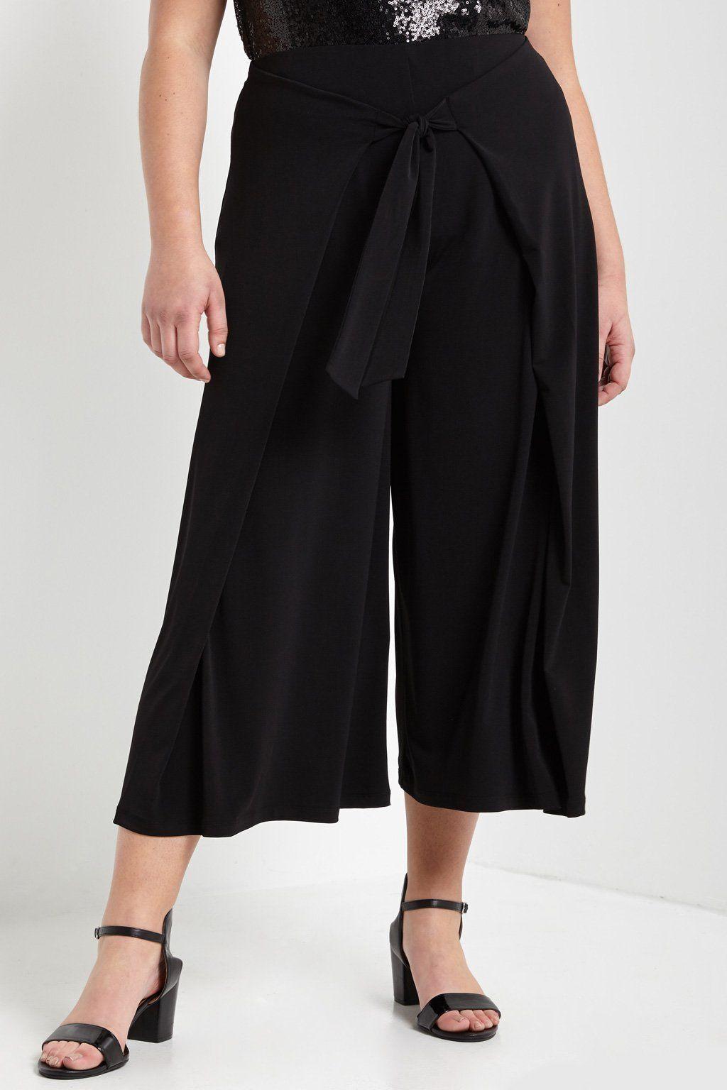 Wide Leg Tie Front Culotte Pants Plus Size Culotte Pants Wide