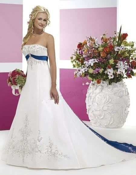 A Line Princess Strapless Chapel Train Satin Wedding Dress With Embroidered Sash Beading Sequins