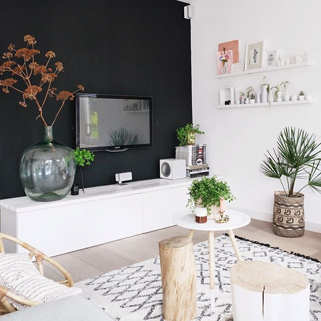 Instagram Photo By Suzanne Stylist Blogger Jul 12 2016 At 6 38pm Utc Dark Walls Living Room Black Walls Living Room Accent Walls In Living Room