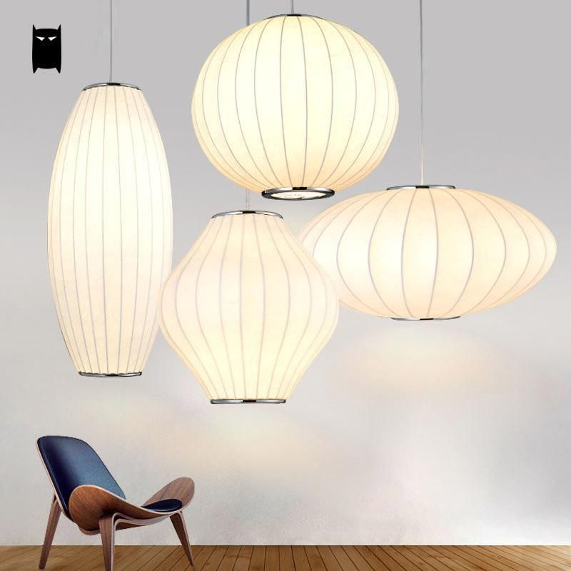White Silk UFO Pendant Light Fixture Nordic Ceiling Hanging Lamp ...