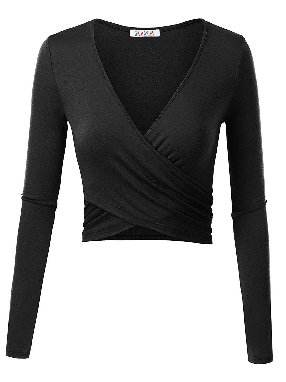 4fc6fc4c3dd00 Women s Deep V Neck Long Sleeve Unique Cross Wrap Slim Fit Crop Tops ...