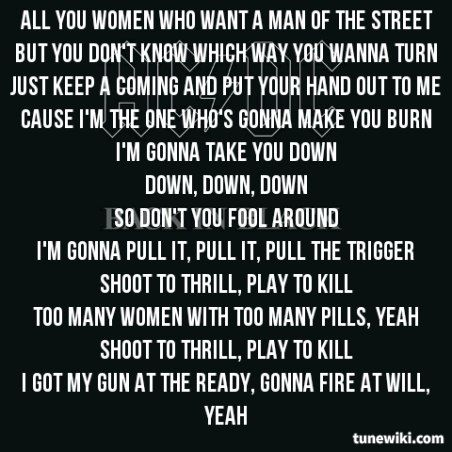 Shoot To Thrill Ac Dc Me Me Me Song Music Quotes Music Lyrics