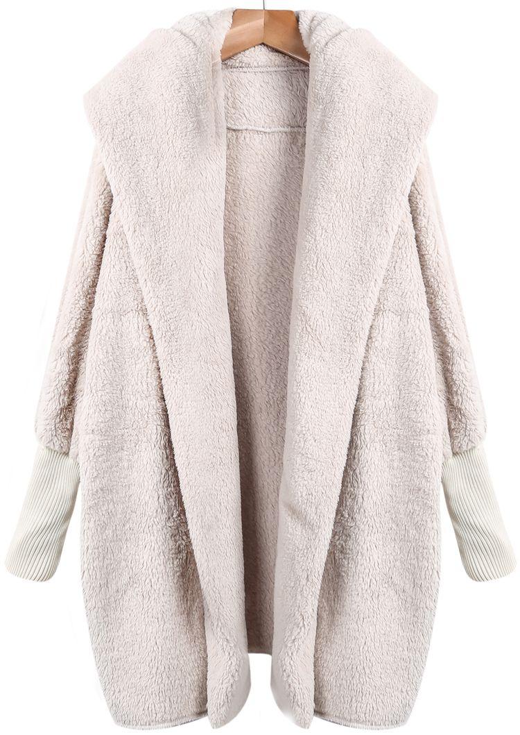 cb3848928 Open Front Faux Fur Hooded Teddy Coat