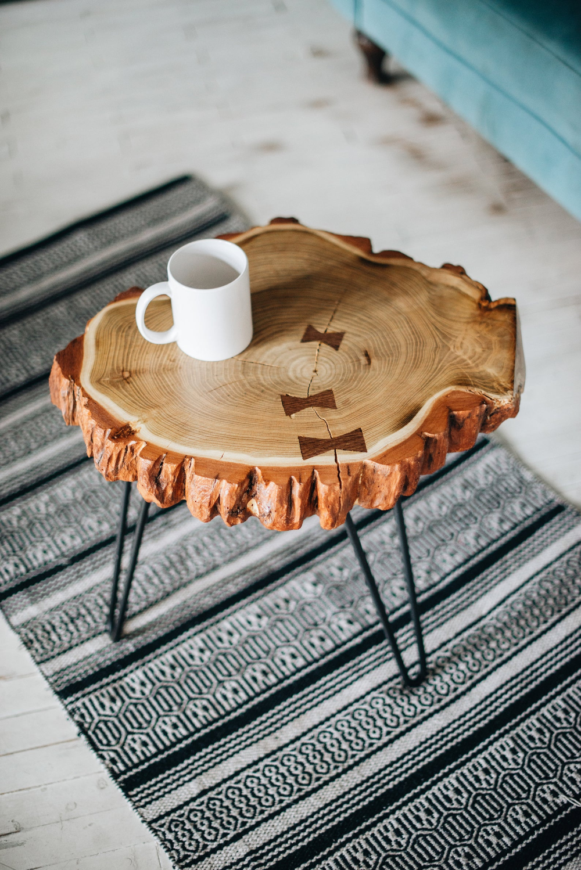 Round Coffee Table, Rustic Coffee Table, Acacia Coffee ...