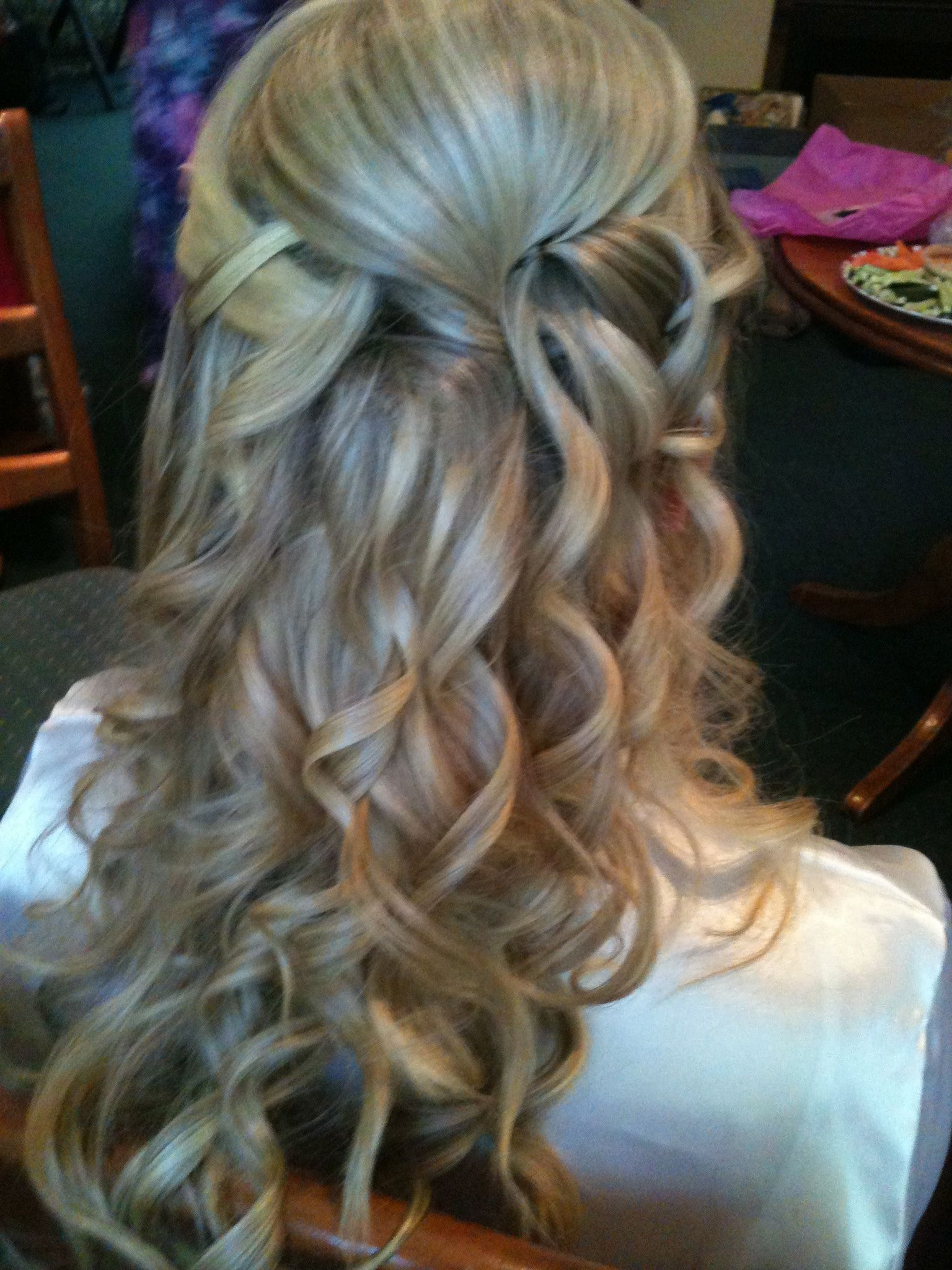 Back View Of Bridal Hair Up Half Down Hair Style Wedding