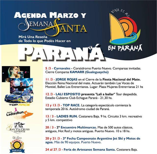 Agenda de Marzo y Semana Santa en Parana | Region Litoral