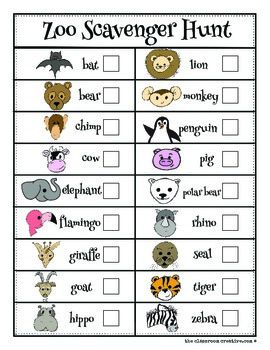 Zoo Animal Scavenger Hunt (Color and B/W) | Zoo activities ...