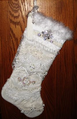 We did a Secret Santa ~ Victorian Stocking ~ surprises inside for our partners, I made mine with lots of lace and embroidery and some vintage jewelry pieces... I hope my partner likes it as much as I loved creating it!