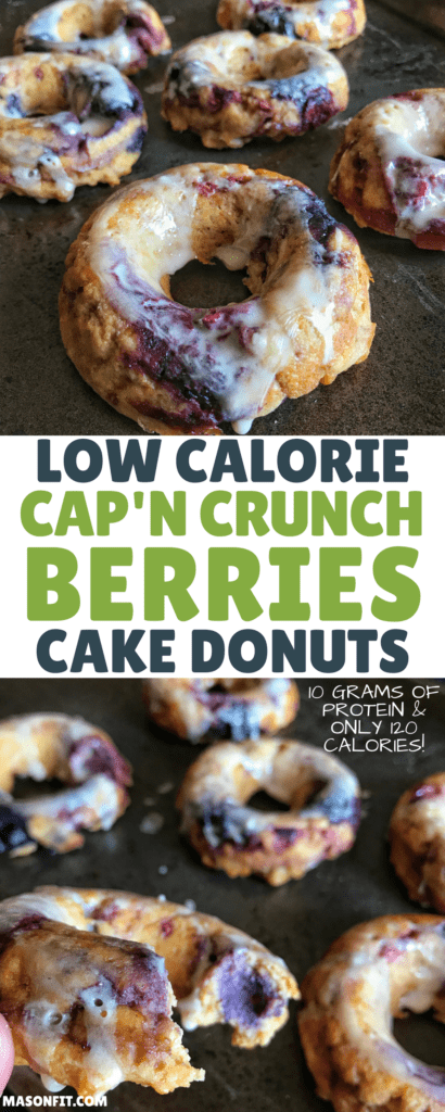 A protein donuts recipe made with Cap'n Crunch, real berries, and a healthier powdered sugar-based cereal milk donut glaze. With only 116 calories and nearly 10 grams of protein per donut, you may have found your new breakfast staple. #proteindonuts