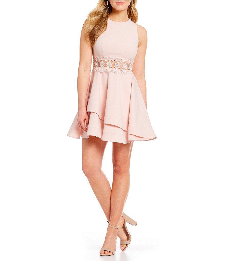 79ef18dd5fa29 B. Darlin Illusion-Waist Double Hem Fit-And-Flare Dress   Dillard's