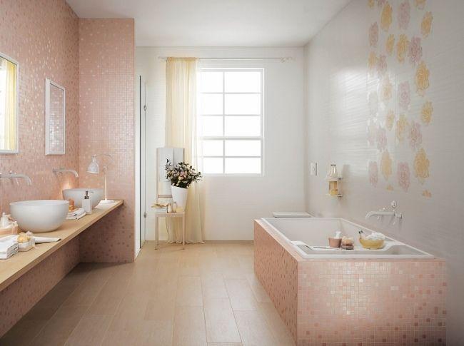 Feminin Bad Design Zartrosa Farbe Fliesen Mosaik Blumen