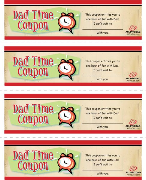 Dad Time Coupons | All Pro Dad
