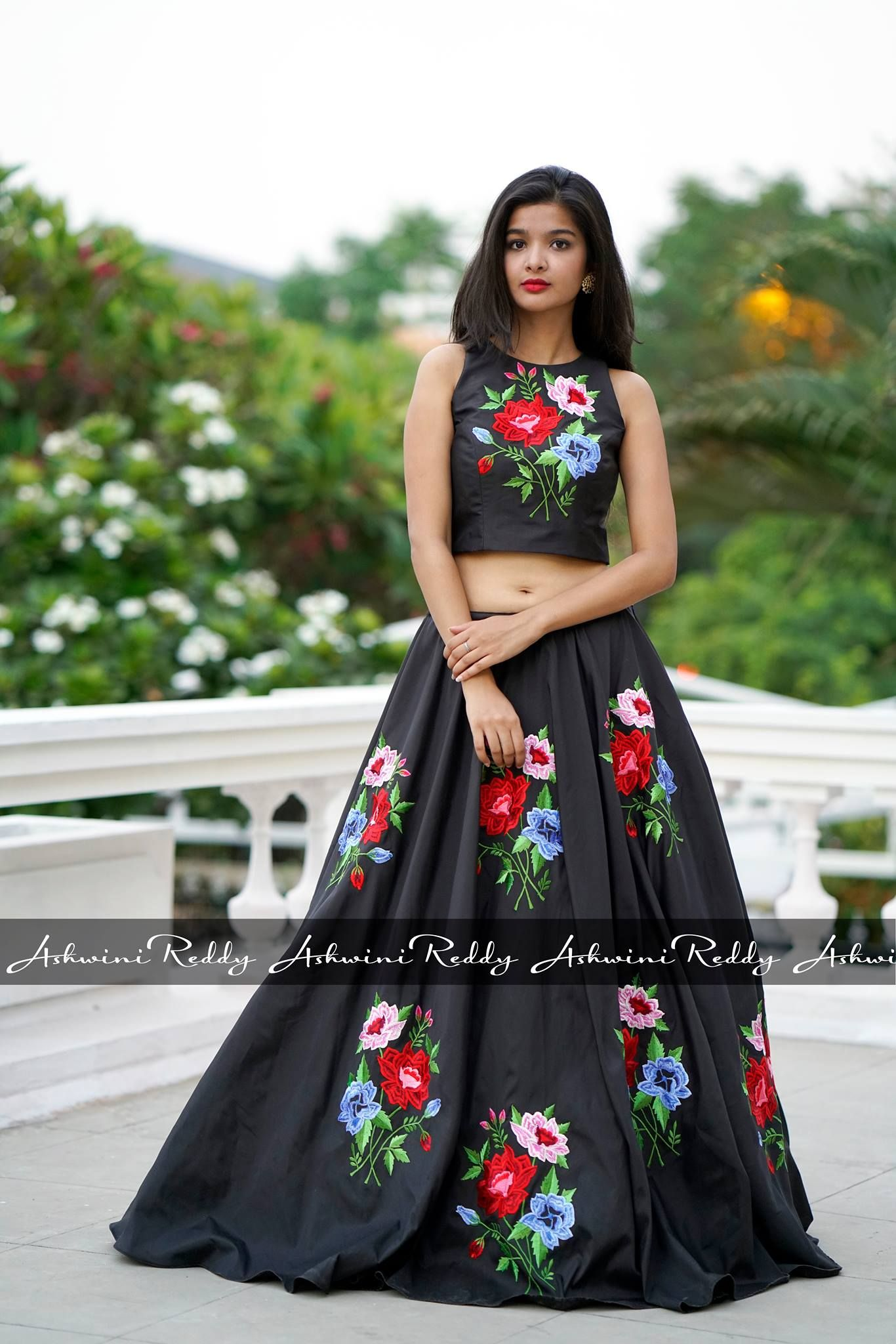 8a0095f97 Beautiful black color skirt and crop top with floral design hand embroidery  thread work. 27 October 2017
