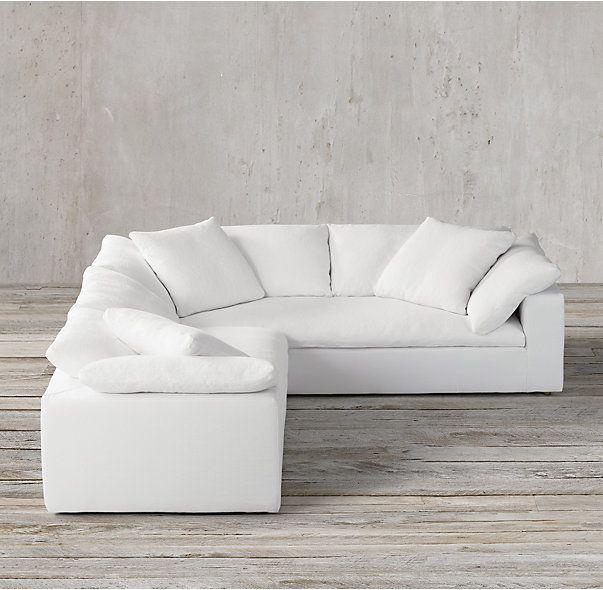 Preconfigured Petite Cloud Track Arm Slipcovered Corner Sectional : cloud sectional sofa - Sectionals, Sofas & Couches