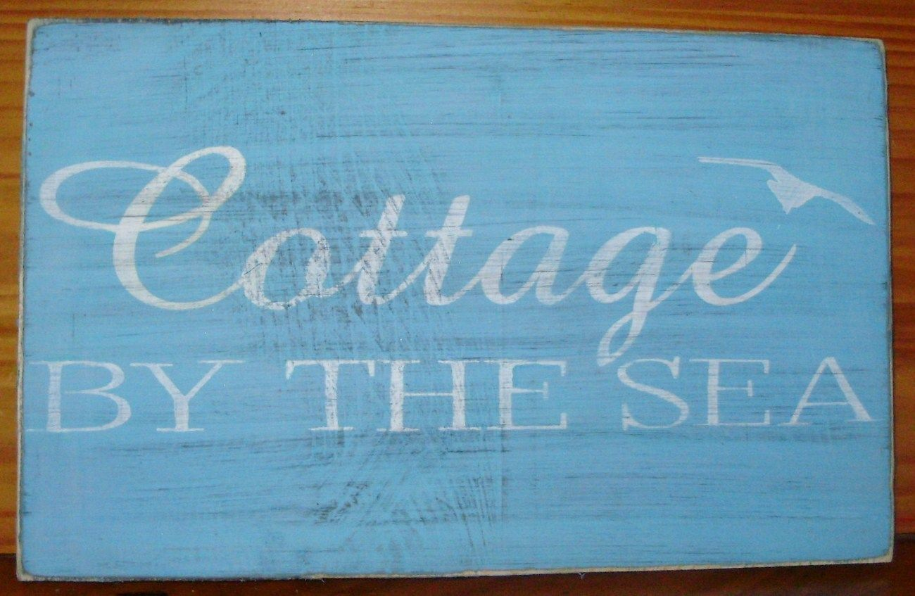 Beach House Cottage by the Sea sign shabby primitive summer blue seagulls refreshing pirates vacation home beach decor sea ocean caribbean