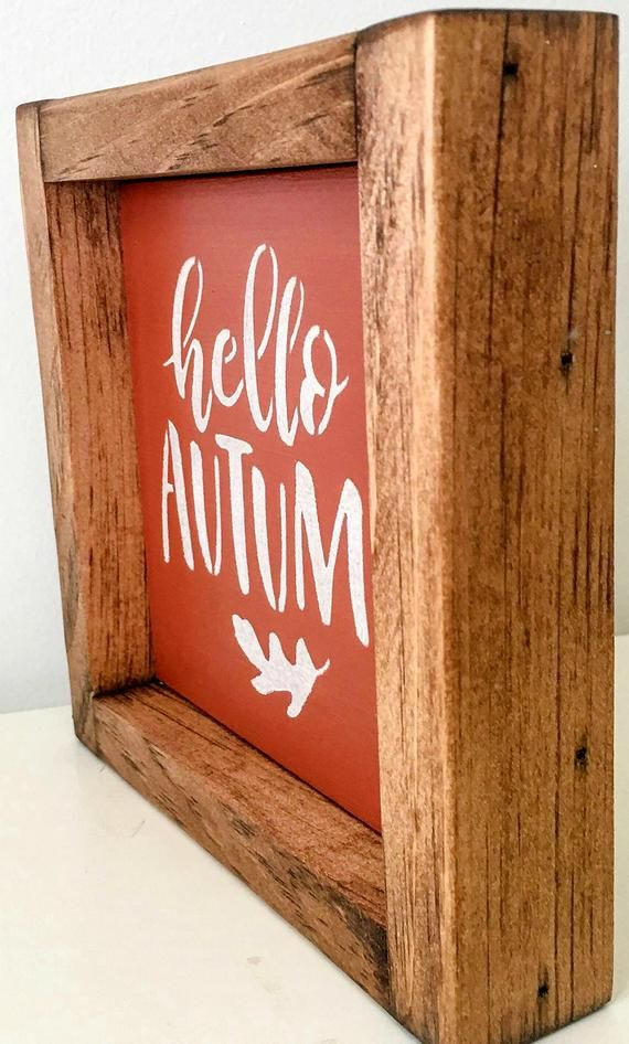Hello Autumn Orange Mini Sign, Fall Mini Framed Sign, Hello Autumn Mini Sign, Fall Mini Sign, Autumn #helloautumn