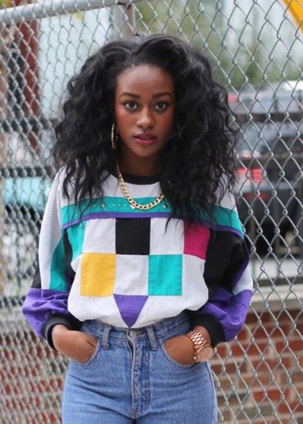 Shirt Colorful 90s Style Mom Jeans Curly Hair Natural Hair Hoop