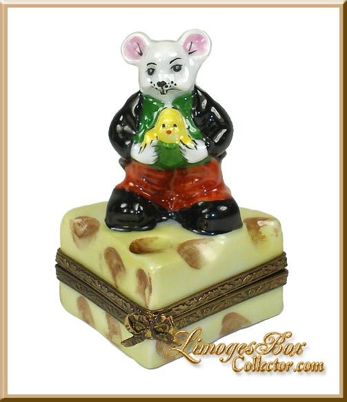 Mouse Standing on Swiss Cheese Slice (Retired) Limoges Box.