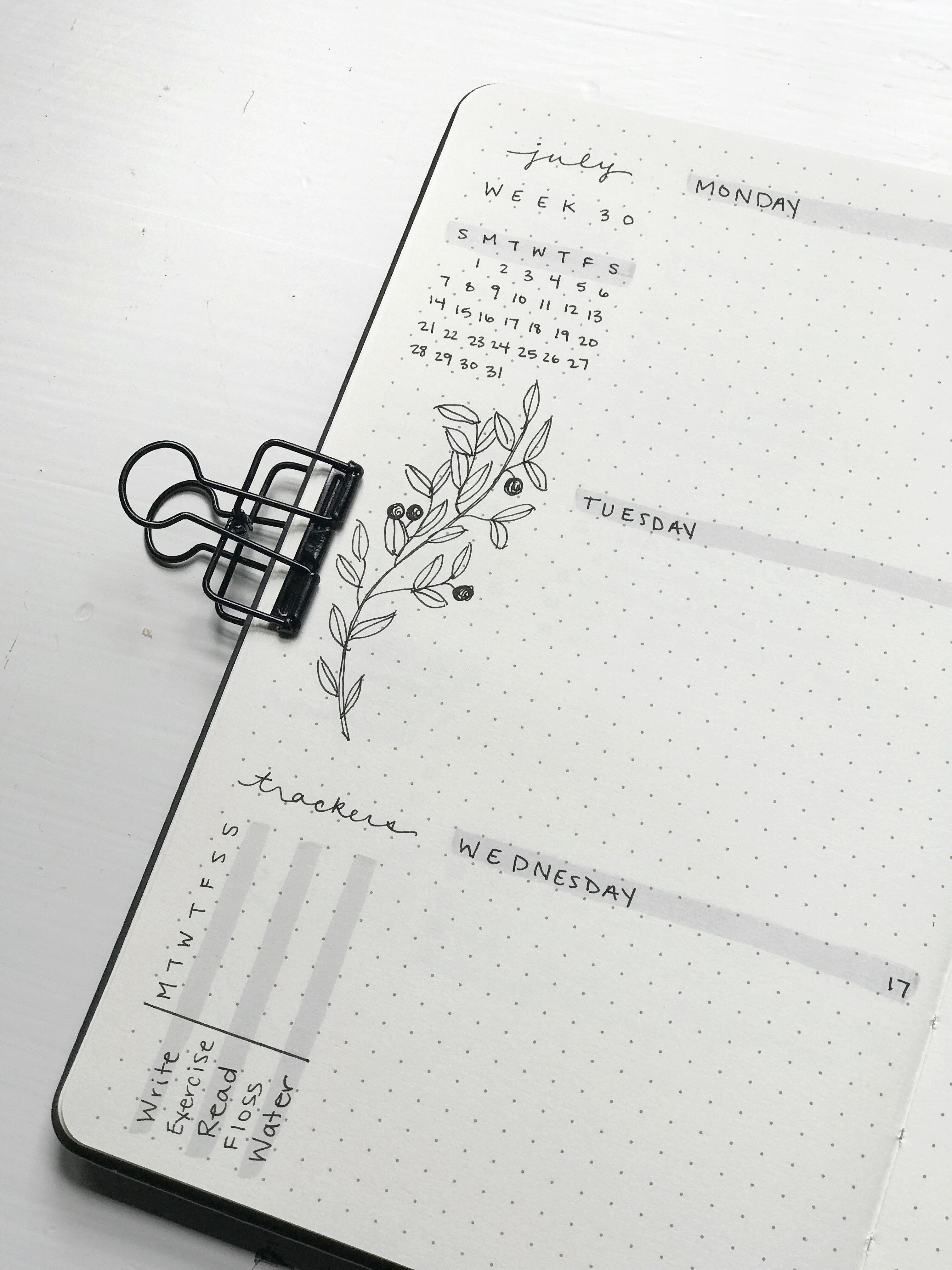 Minimalist bullet journal weekly spread up close and habit trackers page and design berries doodles bujo inspiration and spreads journaling ideas aesthetic flowers simple art brush pen ink drawings branches and berries gray and white and black monochromatic color scheme #bulletjournalideas