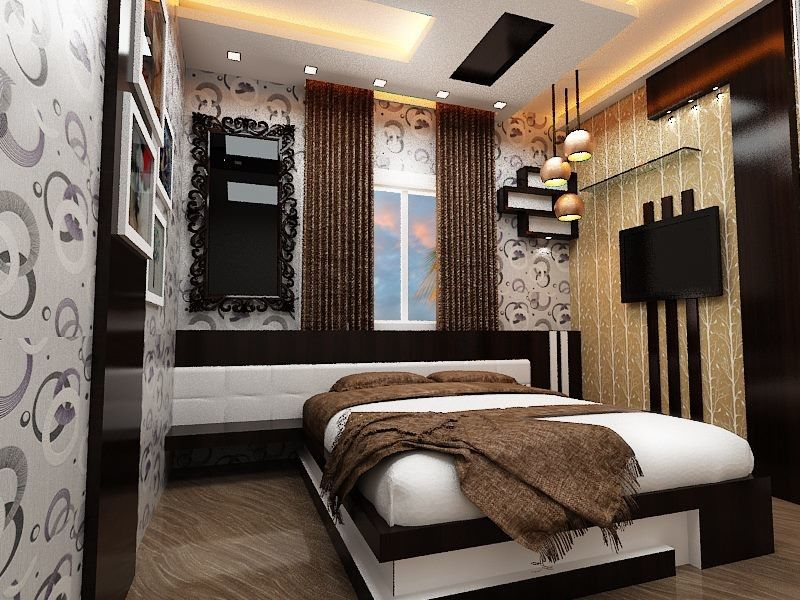 View of bed room design with wooden bed having wooden back for Bed back wall design