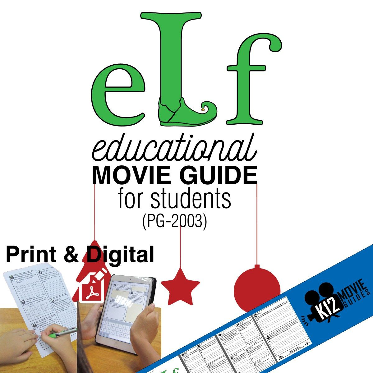 Elf Movie Viewing Guide Questions Worksheet Pg