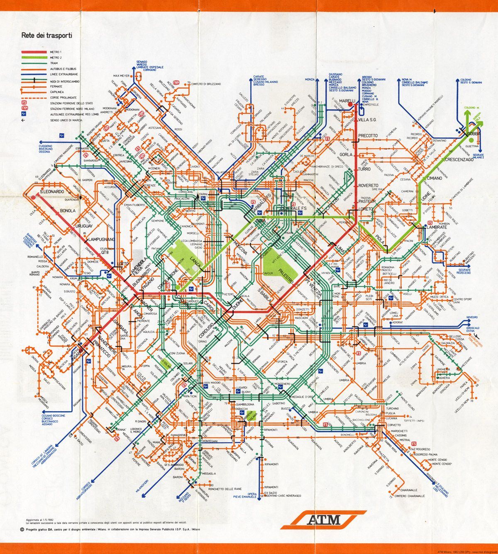 Historical Map Integrated Transit Map Of Milan 1982 Source