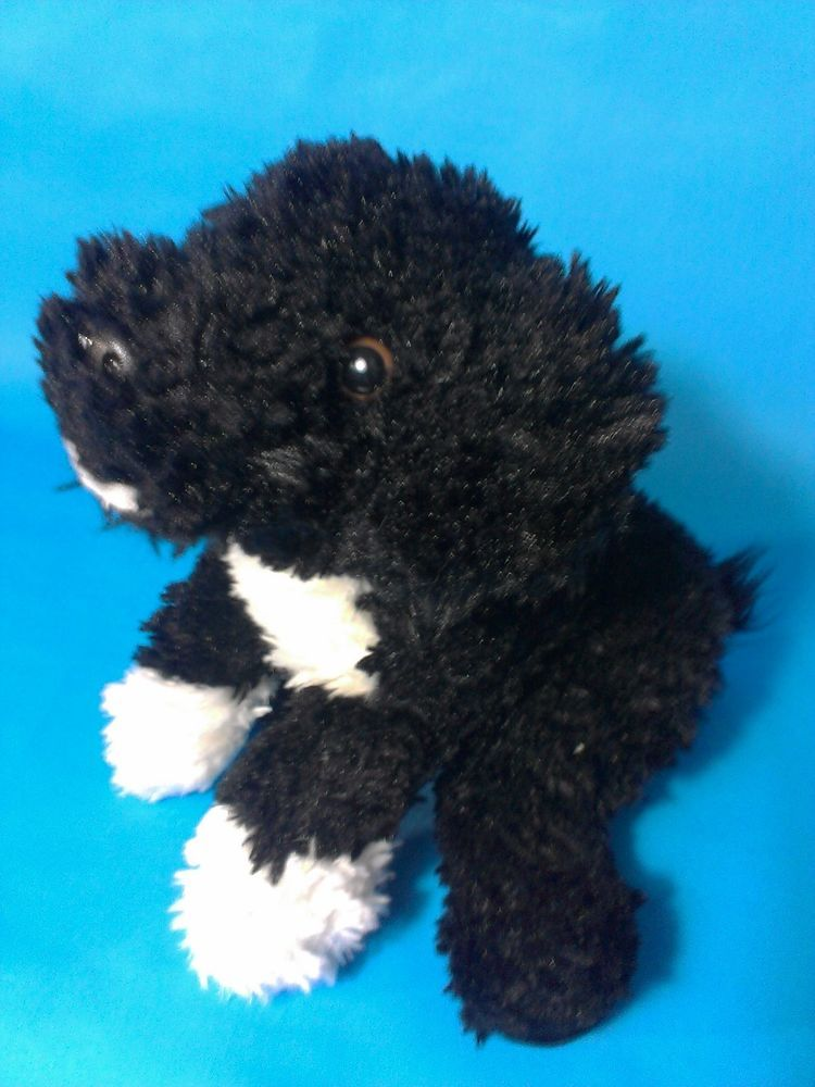 Aurora Black White Puppy Dog Plush Beanbag Stuffed Animal Mutt