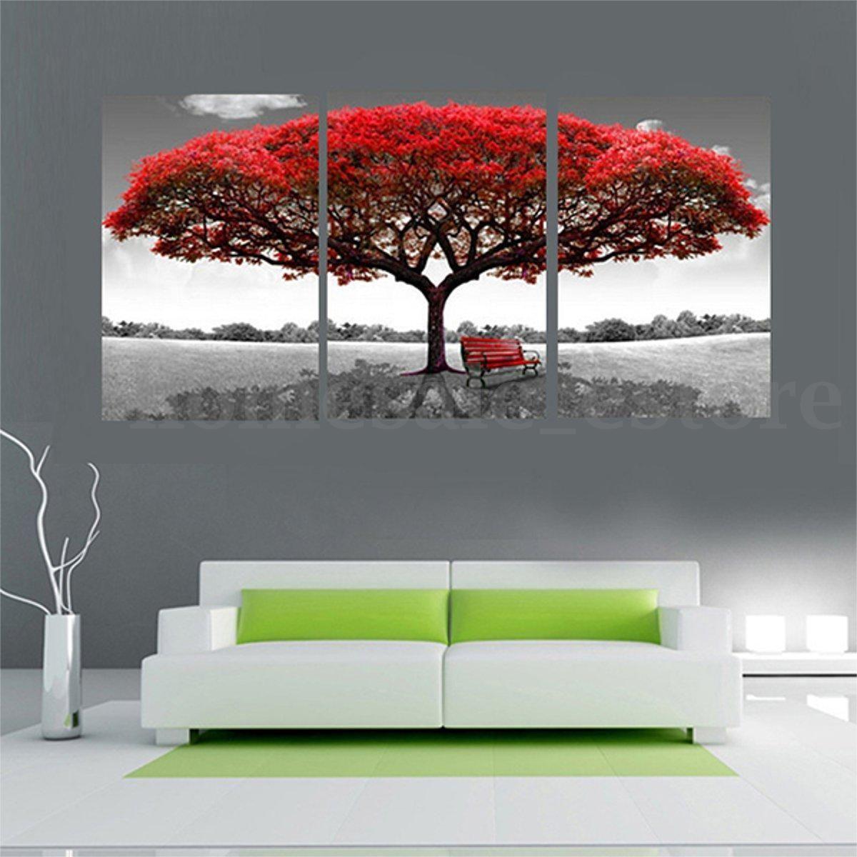Lienzo Grande Árbol Rojo Hogar Moderno Pared Decoración Arte Pintura ...