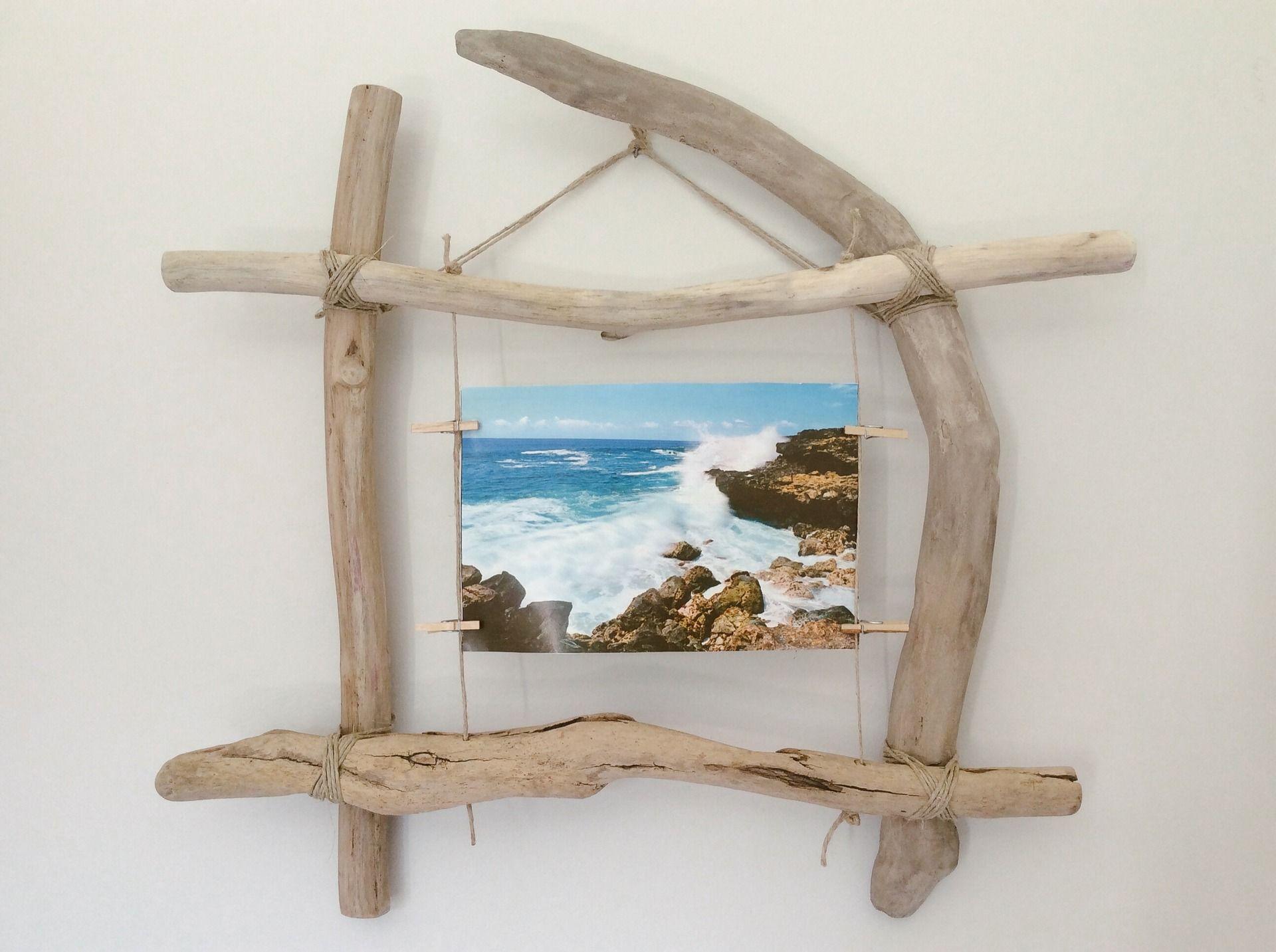 cadre photo en bois flott par l 39 atelier de corinne. Black Bedroom Furniture Sets. Home Design Ideas
