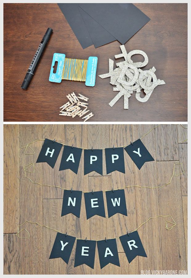 new years 2015 16 decorations happy new year garland black scrapbook paper glittery adhesive letters mini clothespins painted to match or a