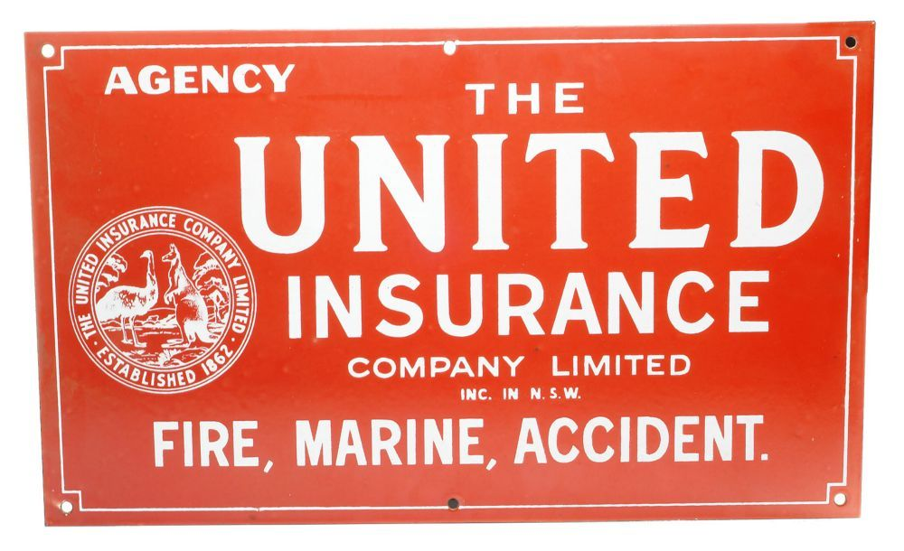 Auction 39 Preview 934 United Insurance Company Enamel Sign In