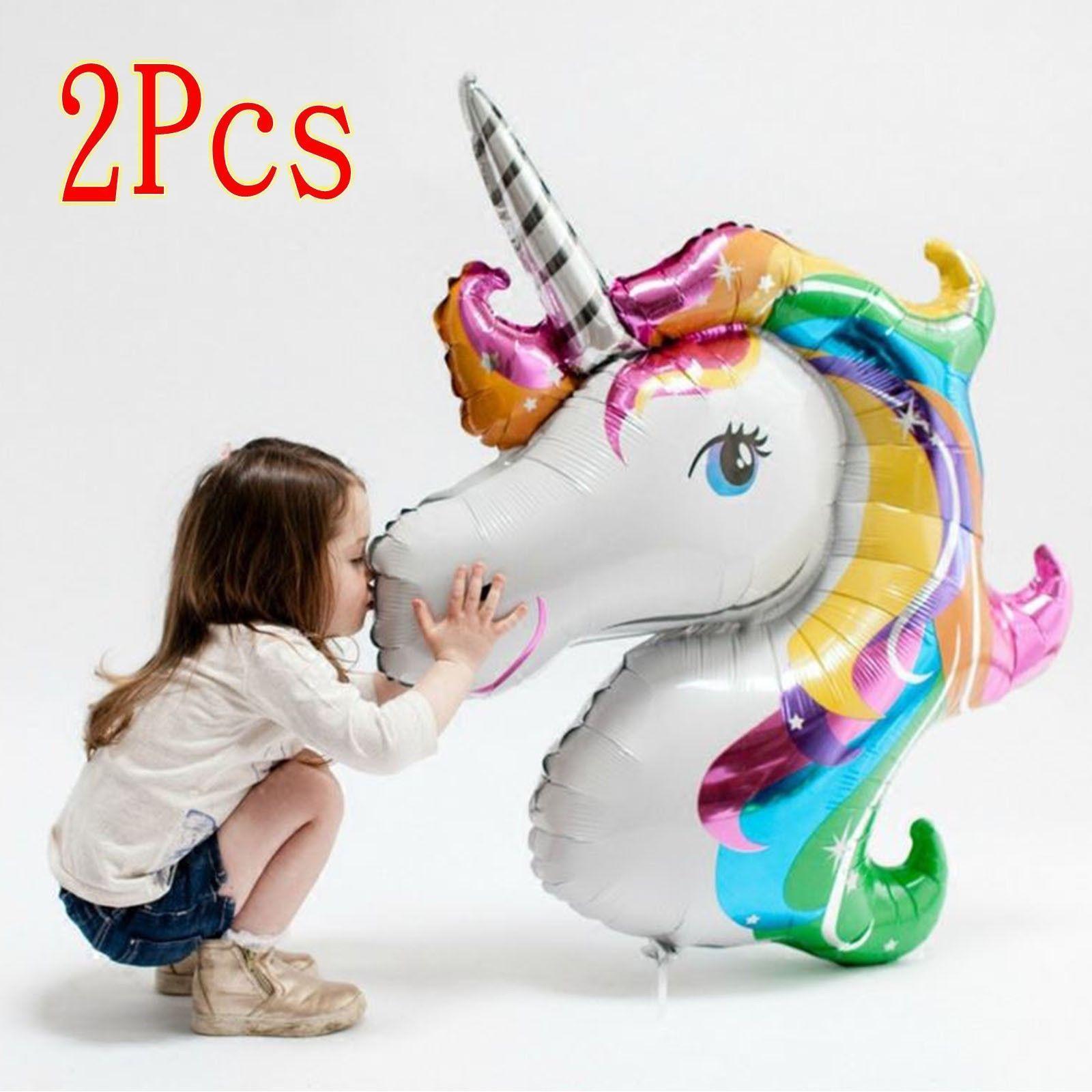 0.99 GBP - 2Pc Foil Helium Balloon Unicorn Large Rainbow Children ...