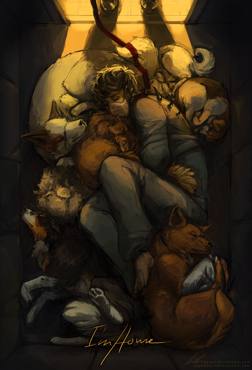 """HANNIBAL - I'm Home by Sayael Alternative titles: """"Graham Puppy Pile!"""" """"Hannibal is NOT INVITED!"""" """"Graham Pack Cuddle Formation"""" """"Hug-Me-jacket"""" (But he's glooming creepy-ly over it.)"""
